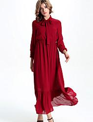 Europe and the United States new winter High collar lace long sleeve elastic waist falbala dress dress