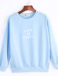 Women's Going out /Street chic Regular Hoodies,Print Blue / Pink / White Round Neck Long Sleeve Cotton