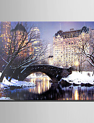 E-HOME® Stretched LED Canvas Print Art City Snow Night LED Flashing Optical Fiber Print One Pcs