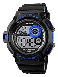 SKMEI Da uomo Orologio sportivo Digitale LED Calendario Cronografo Resistente all'acqua allarme Cronometro Nottilucente Colorato PU Banda