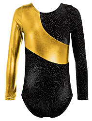 Gold Foiled Print Toddler Girls Ballet Dance Leotards Spiling Gymnastics Crop Tops Dancewear for 3-16 Years Girls