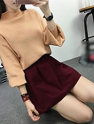Feminino Padrão Pulôver,Para Noite Casual Simples Moda de Rua Sólido Vermelho Preto Colorido Colarinho Chinês Manga Longa LãOutono