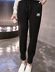 Women's Straight Loose Chinos PantsGoing out Simple Solid High Rise Button Cotton Stretchy Spring