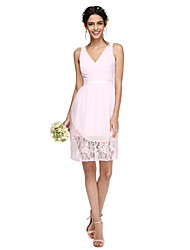 2017 Lanting Bride® Knee-length Chiffon / Lace See Through Bridesmaid Dress - V-neck with Sash