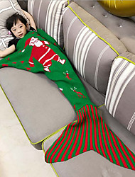 Children's Santa Claus Mermaid  Blanket Wool Knitting Fish Tail Blanket For Christmas