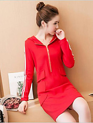 Women's Casual/Daily Cute Bodycon Dress,Solid Hooded Midi Long Sleeve Red Black Rayon Spring Mid Rise Micro-elastic Medium