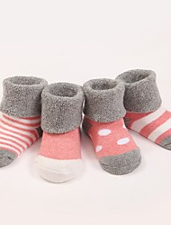 Girl's Baby Flats Fall Winter First Walkers Cotton Casual Spool Heel Blue Pink Gray