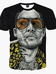 Herren Druck Niedlich Street Schick Punk & Gothic Ausgehen Party/Cocktail Klub T-shirt,Rundhalsausschnitt Frühling Sommer Kurzarm Schwarz