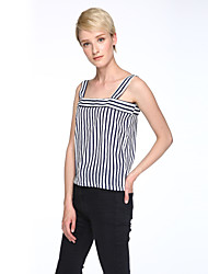 Women's Striped White Tanks,Square Neck Sleeveless