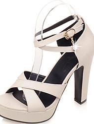 Feminino-Sandálias-Sapatos com Bolsa Combinando-Salto Grosso-Preto Rosa Bege-Courino-Escritório & Trabalho Social Casual