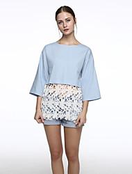 Women's Patchwork Blue Shirt,Round Neck ¾ Sleeve