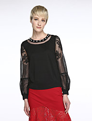 Women's Solid Red / Black Blouse,Round Neck Long Sleeve
