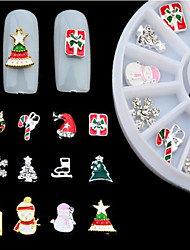 New 3d Alloy Christmas Design Nail Art Decoration Wheel Glitter Rhinestone Manicure Nail Supplies Tools