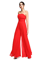 2017 TS Couture® Formal Evening Dress - Open Back Sheath / Column Strapless Floor-length Chiffon with Draping / Ruching