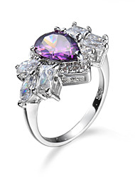 Ring AAA Cubic Zirconia Zircon Cubic Zirconia Alloy Simple Style Fashion Purple Jewelry Casual 1pc