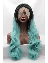 Синтетический фронт шнурка париков черный корни мяты зеленые волосы Ombre волнистые синтетические парики