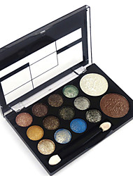 Professional 2in1 12 Glitter Shimmer Color Eyeshadow+2 Blush Neutral Nude Eye Shadow Cosmetic Makeup Palette Set