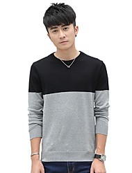 Men's Casual/Daily Plus Size Going out Simple Cute Street chic Regular Pullover,Solid Striped Red Gray Orange Round Neck Long Sleeve