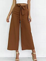 Mujer Perneras anchas Chinos Pantalones,Un Color Noche Casual/Diario Sencillo Chic de Calle Tiro Medio Elasticidad Poliéster