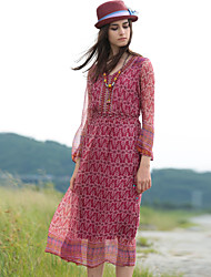 VINIKAWEN  Women's Casual/Daily Boho Sheath DressGeometric V Neck Midi Long Sleeve Blue / Red Silk Fall Mid Rise Inelastic Medium
