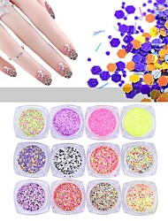 12pcs/set  Jewelry Pearl Fluorescence Symphony Sequins Nail Decals