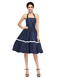 TS Couture Cocktail Party Prom Dress - Beautiful Back A-line Halter Knee-length Nylon Taffeta with Pleats
