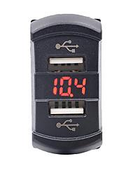 12-24 2.1a мотоцикл автомобиль двойной USB зарядное устройство с вольтметра