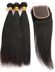 4 Pièces Droit (Straight) Tissages de cheveux humains Cheveux Brésiliens 8-26 inch Extensions de cheveux humains