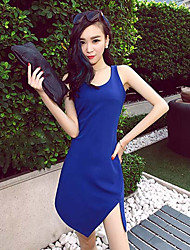 Women's Going out Sexy Bodycon Dress,Solid Round Neck Mini Sleeveless Blue Cotton Summer Low Rise Micro-elastic Medium
