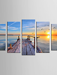 Canvas Set Landscape / Still Life Modern / Realism,Five Panels Canvas Any Shape Print Wall Decor For Home Decoration