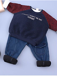 Boy Casual/Daily Solid Color Block Hoodie & Sweatshirt,Cotton Winter Long Sleeve