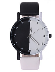 Men's Women's Wrist watch Quartz PU Band Black White Brand