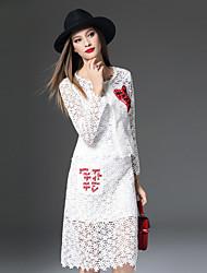 Damen Stickerei Retro Lässig/Alltäglich Set Rock Anzüge,Rundhalsausschnitt Herbst / Winter Langarm Weiß Polyester Mittel