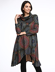 Women's Vintage / Casual / Floral / Color Block / Patchwork A Line / Loose Dress , Round Neck Bib Asymmetrical Cotton