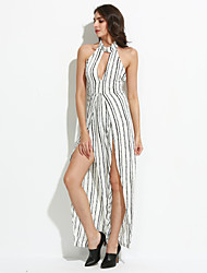 Women's Striped White / Black Jumpsuits,Sexy Turtleneck Sleeveless