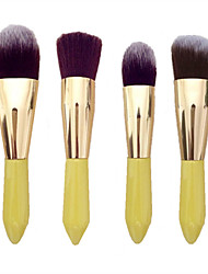 4pc Makeup Brushes Set Synthetic Hair  Wood Handle Lemon Yellow Color Makeup Brush