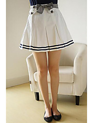 Women's A Line Solid Pleated Skirts,Casual/Daily Sexy / Simple Mid Rise Above Knee Drawstring Cotton Micro-elastic Summer
