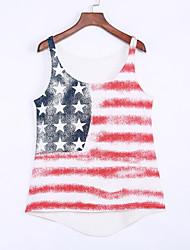 Damen Druck Einfach Lässig/Alltäglich T-shirt,Rundhalsausschnitt Sommer Ärmellos Weiß Polyester / Elasthan Dünn