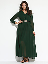 Women's Party Vintage Swing Dress,Solid Pleated Crew Neck Maxi Long Sleeve Lantern Sleeve Green Spring Fall Mid Rise