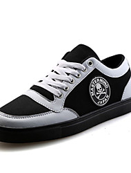 Men's Sneakers Spring Fall Comfort PU Casual Flat Heel Lace-up Black Red Black and White