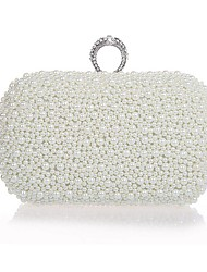 Women Bags All Seasons Plastic Evening Bag with Imitation Pearl for Wedding Event/Party Formal White Black Champagne