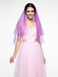 Véus de Noiva Duas Camadas Véu Cotovelo Rede