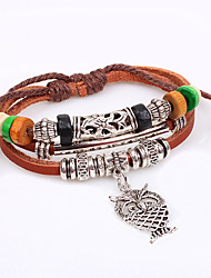 High Quality Vintage Classic Animal Owl Brown Leather Charm Bracelet Alloy Easy Hook Men Bracelets Accessories