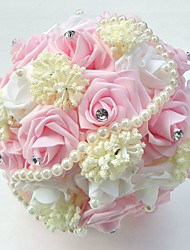 "Wedding Flowers Round Roses Bouquets Wedding Party/ Evening Satin Bead Foam 8.66""(Approx.22cm)"