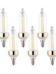 6Pcs YWXLight® E12 4W SMD COB 400-500Lm Warm White Cool White  LED Super Bright Energy-Saving Candle Lamp AC 110V