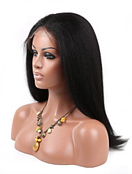 Natural Black 10-26inch 130% Density Kinky Straight Human Hair Full Lace Wig with Baby Hair