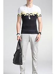 Herren Blumen Einfach Lässig/Alltäglich T-shirt,Rundhalsausschnitt Sommer Kurzarm Weiß Seide Mittel