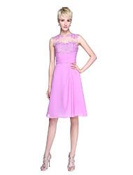 LAN TING BRIDE Knee-length Jewel Bridesmaid Dress - Open Back Sleeveless Chiffon