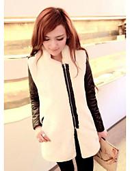 Feminino Casaco de Pêlo Para Noite Casual Vintage Simples Moda de Rua Inverno, Sólido Branco Pêlo Sintético Colarinho Chinês-Manga Longa