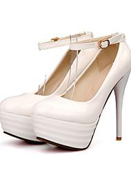 Feminino-Saltos-Sapatos com Bolsa Combinando-Salto Agulha-Preto Azul Vermelho Branco-Courino-Escritório & Trabalho Social Casual